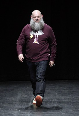 PARIS, FRANCE - JUNE 24: Walter Van Beirendonck walks the runway during the Strateas Carlucci Ready to Wear fashion show as part of Paris Men's Fashion Week Spring/Summer 2016 on June 24, 2015 in Paris, France. (Photo by Thierry Chesnot/Getty Images)