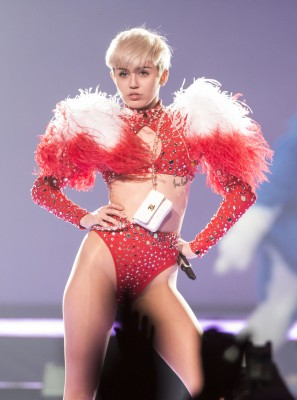 "VANCOUVER, BC - FEBRUARY 14:  American singer Miley Cyrus opens her ""Bangerz Tour"" at Pepsi Live at Rogers Arena on February 14, 2014 in Vancouver, Canada.  (Photo by Phillip Chin/Getty Images)"